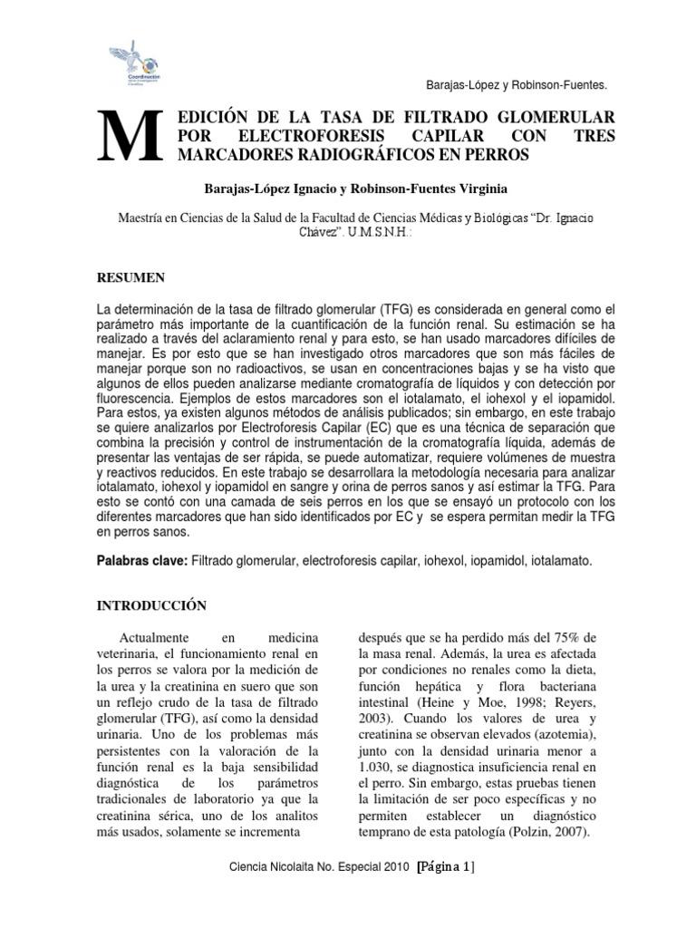 tasa de filtrado glomerular baja pdf