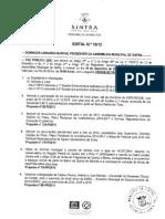 Ordem do dia da Assembleia Municipal de Sintra de 19 de Dezembro de 2013