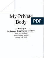 My Private Body (2001) A Song Cycle for Soprano, Clarinet and Piano