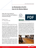 PfP RSSEE Policy Recommendations - Croatian EU Membership - Implications for the Western Balkans