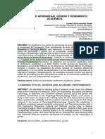 Acevedo, Rocha_2011_Estilos de aprendizaje, género y rendimiento académico_Revista de estilos de aprendizaje