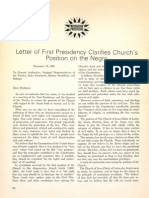Letter of First Presidency Clarifies Church's Position on the Negro