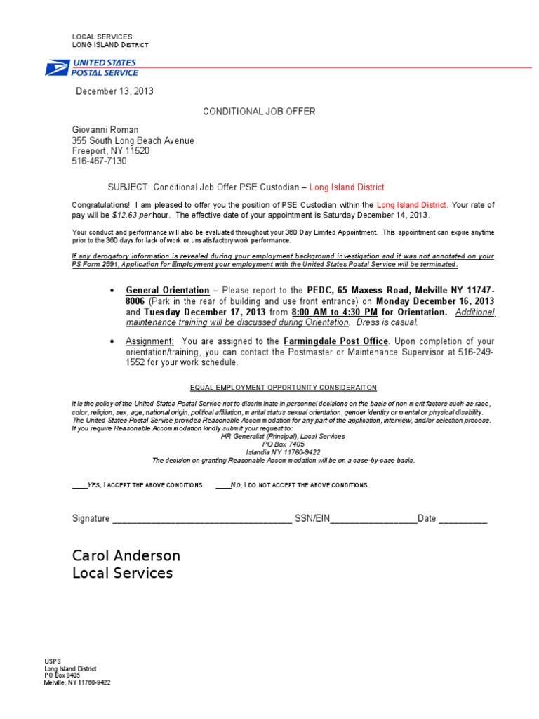 Usps Conditional Job Offer Letter Custodian