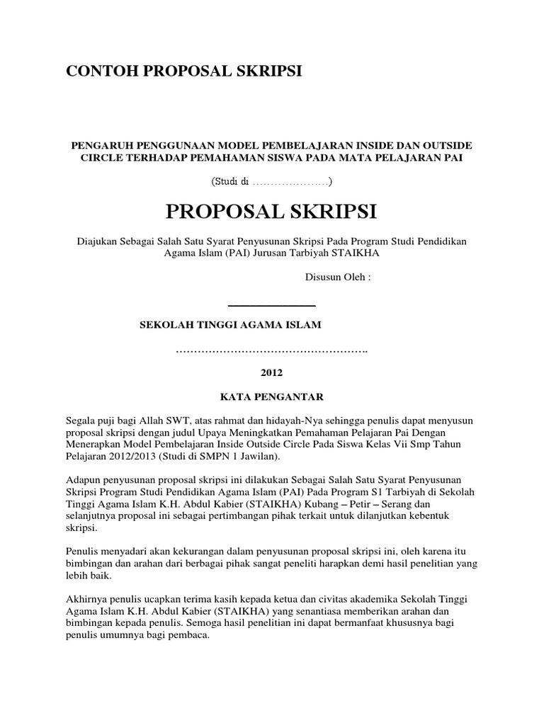 Contoh Proposal Skripsi Pai Tarbiyah Pdf Dagordrive