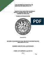 Guía de Informe de Diagnóstico del Proyecto de Investigación Geológica TFC 2013