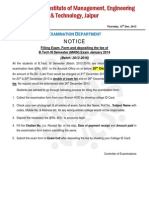 Revised Exam Form Filling Notice of III Sem (Main) January 2013