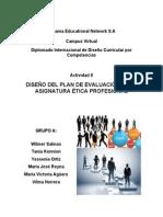 Diseño del Plan de Evaluación de la Asignatura Ética Profesional