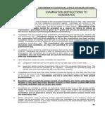 131 Examination Instructions to Candidates