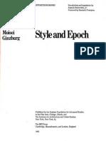 Moisei Ginzburg Style and Epoch