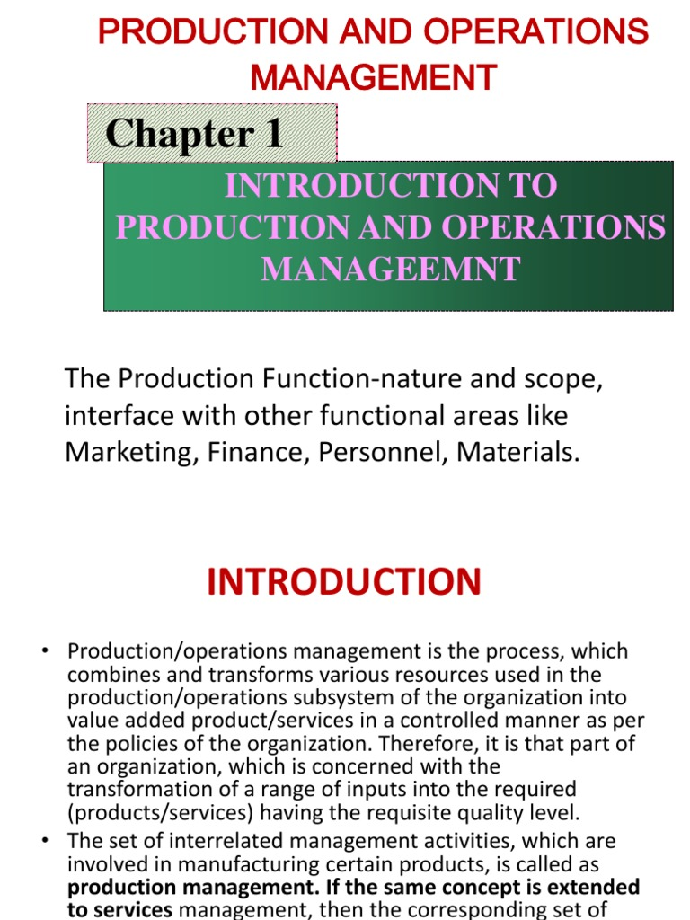 introduction of production function