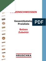 Bolzenschweissen - Gesamtkatalog Preisliste - Bolzen Zubehoer – Hruschka