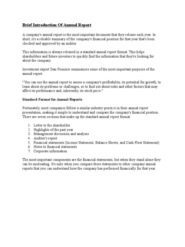 annual report analysis sample – Annual Report Analysis Sample