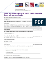 FMEA 4th Edition Blank P and D FMEA Sheets in Excel