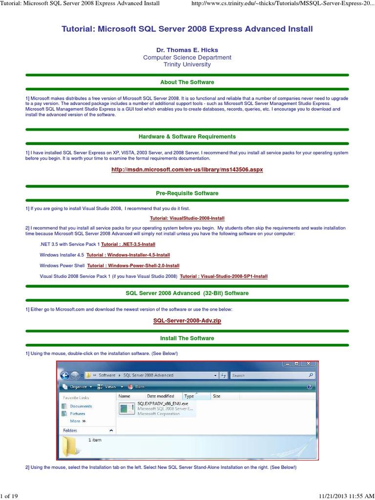 Tutorial microsoft sql server 2008 express advanced install tutorial microsoft sql server 2008 express advanced install windows vista microsoft visual studio sciox Gallery