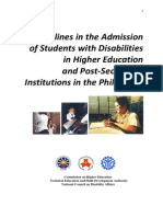 CHED Guidelines in Admission of PWDs 090826