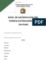 NIVEL DE SATISFACCION DEL TURISTA EXTRANJERO EN PUNO 2009 Valentin canales ramos