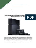 Sony PS4 Pre-Order Press Release_13Dec2013