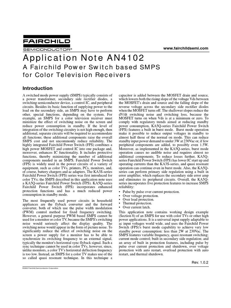AN-4102: Colour TV receiver SMPS   Mosfet   Amplifier