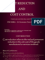 Cost Reduction and Control