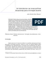 1-Pereira, J.E.D. (1999). As licenciaturas e as novas políticas educacionais para a formação docente. Educação & Sociedade, ano XX, nº 68.