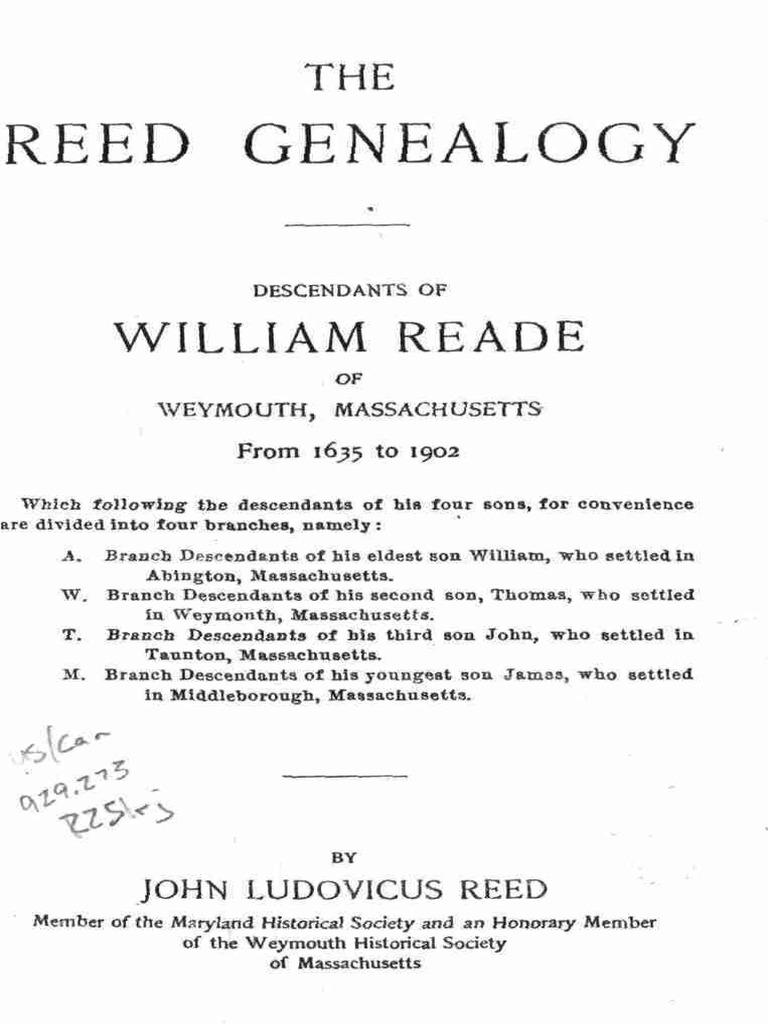 Reed Geneology | Biblical People | Old Testament People