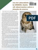 Coleção de aves do laboratório de zoologia da Unoesc, campus de Joaçaba