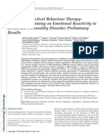 Effects of Dialectical Behaviour Therapy-Mindfulness Training on Emotional Reactivity in Borderline Personality Disorder- Preliminary Results