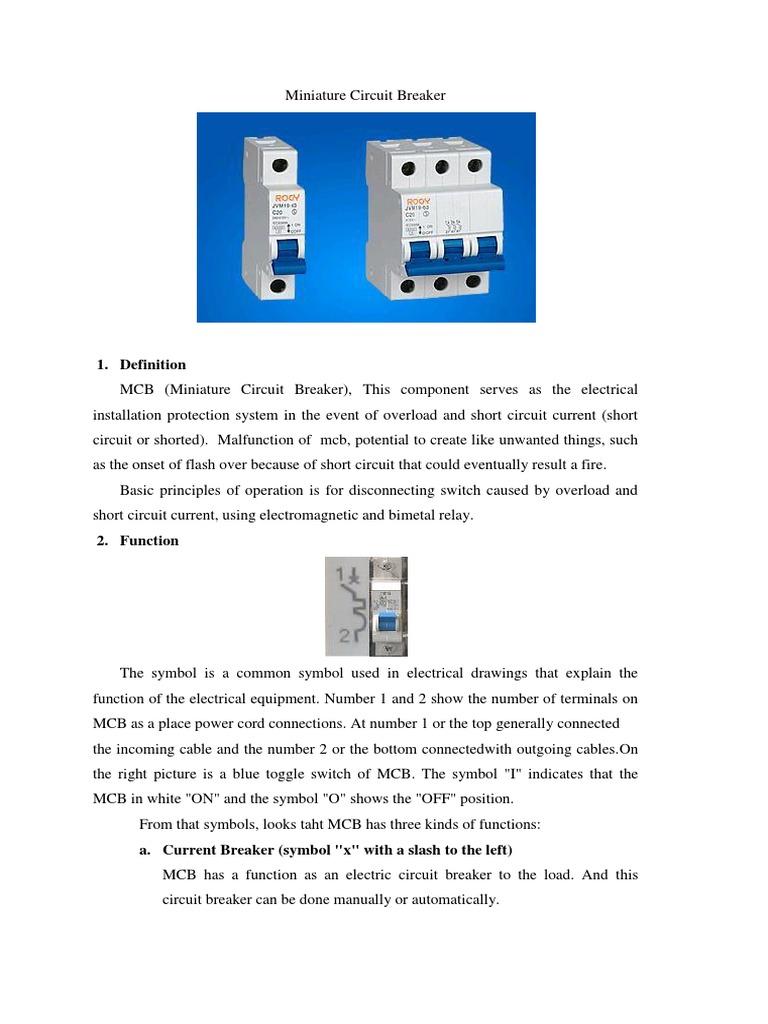 Miniature Circuit Breaker1 Switch Electric Current