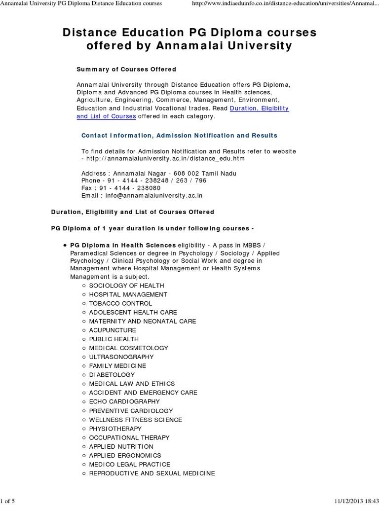 Annamalai University PG Diploma Distance Education Courses