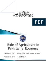 Role of Agriculture in Pakistan Economy