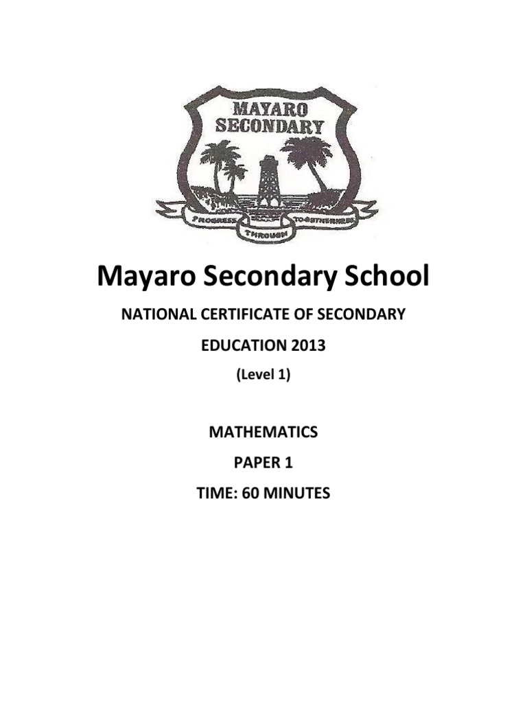 Mayaro Secondary School: National Certificate Of Secondary