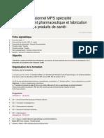 Master professionnel MPS spécialité Développement pharmaceutique et fabrication industrielle des produits de santé