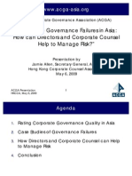 Corporate Governance Failures in Asia - How Can Directors and Corporate Counsel Help to Manage Risk 6-May-2009 - ACGA