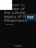 Wood, C. (2013). One year on. A review of the cultural legacy of the Paralympics. Demos, London.