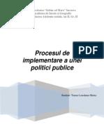 Procesul de implementare al unei politici publice