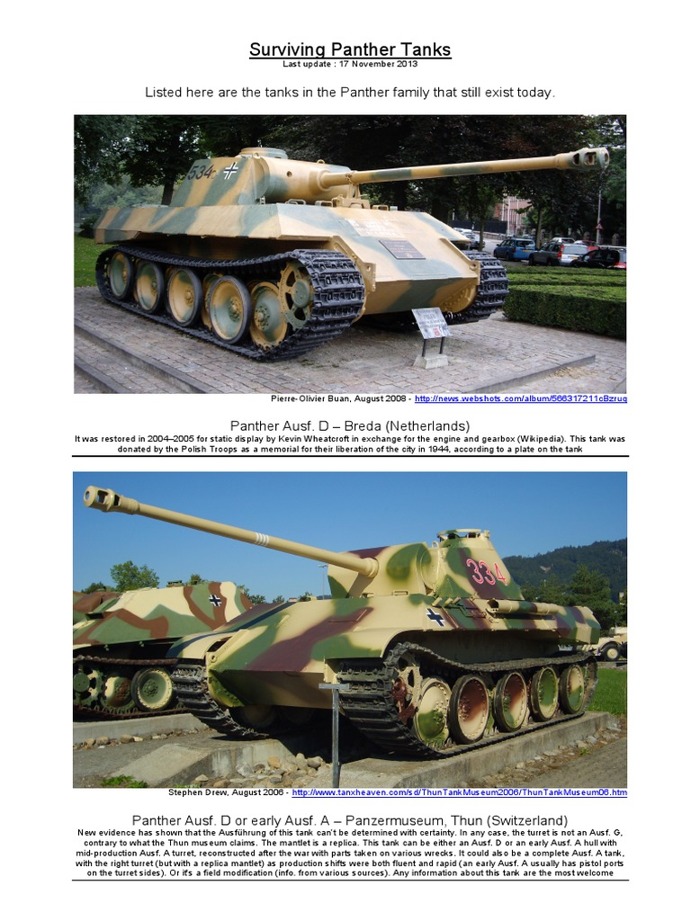 Surviving Panthers Tanks Armoured Fighting Vehicles