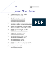 Frequency Adverbs - Answers
