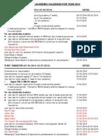 academic calendar 2014