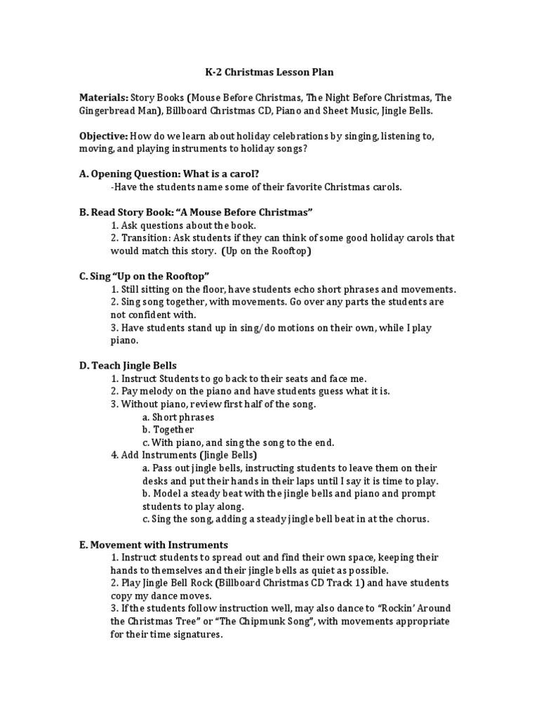 christmas lesson plan for unit plan | Christmas Music | Lesson Plan