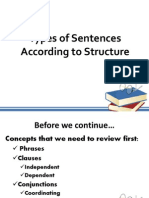 types of sentences according to structure.