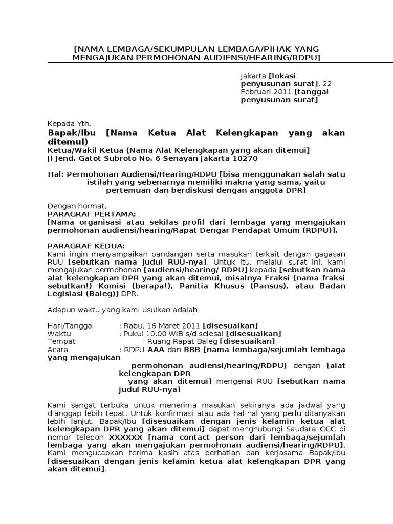 Contoh Surat Audiensi Doc