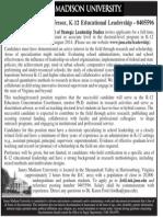 K-12 Educational Leadership Professor, James Madison University School of Strategic Leadership Studies