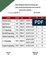 University Practical Time Table CS - III Sem-2013