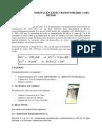 PRACTICA Nº10 DETERMINACION ESPECTOFOTOMETRICAE L HIERRO