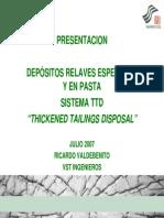 Deposito de Relaves Espesados y en Pasta