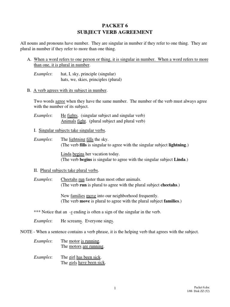 Packet6 subject verb agreement grammatical number subject grammar platinumwayz