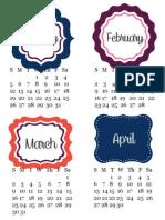 Border and Frames Free Printable 2014 Calendar