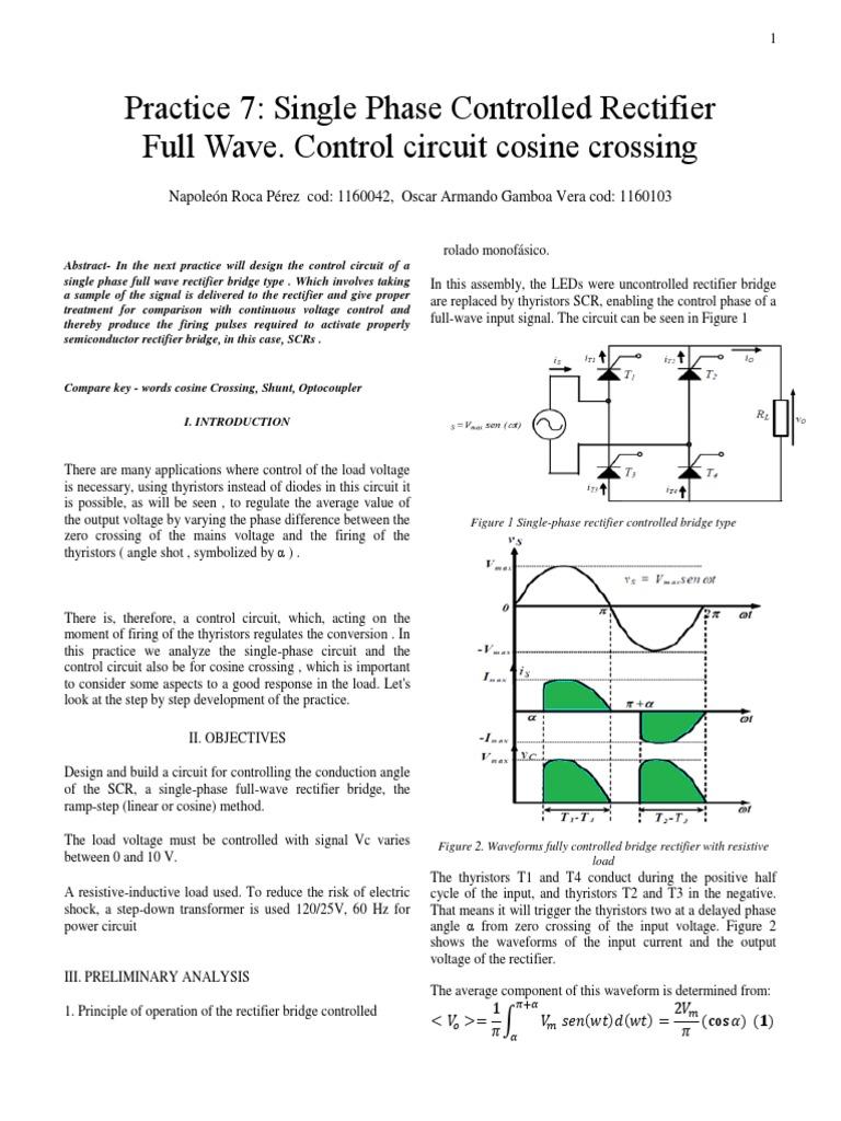 Circuito Com Scr Tic 106 : Rectificador controlado monofásico de onda completa circuito de