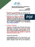 1ª AULA_OBSERVAÇÕES IMPORTANTES_2011