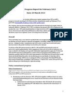 TFT/APP Progress Report for February 2013